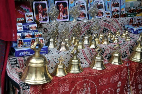 Bells for sale at the gate of the Chitayi temple. Believers of Golu Devta also believe that hanging bells in his temple will help them get his audience, and hence his beneficence.